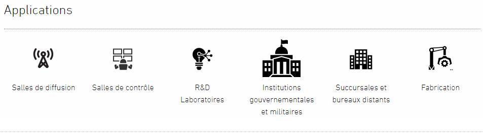 Applications: Salles de Diffusion / Salle de contrôle / R&D Laboratoires / Institutions gouvernementales et militaires / Succursales et bureaux distants / Fabrication