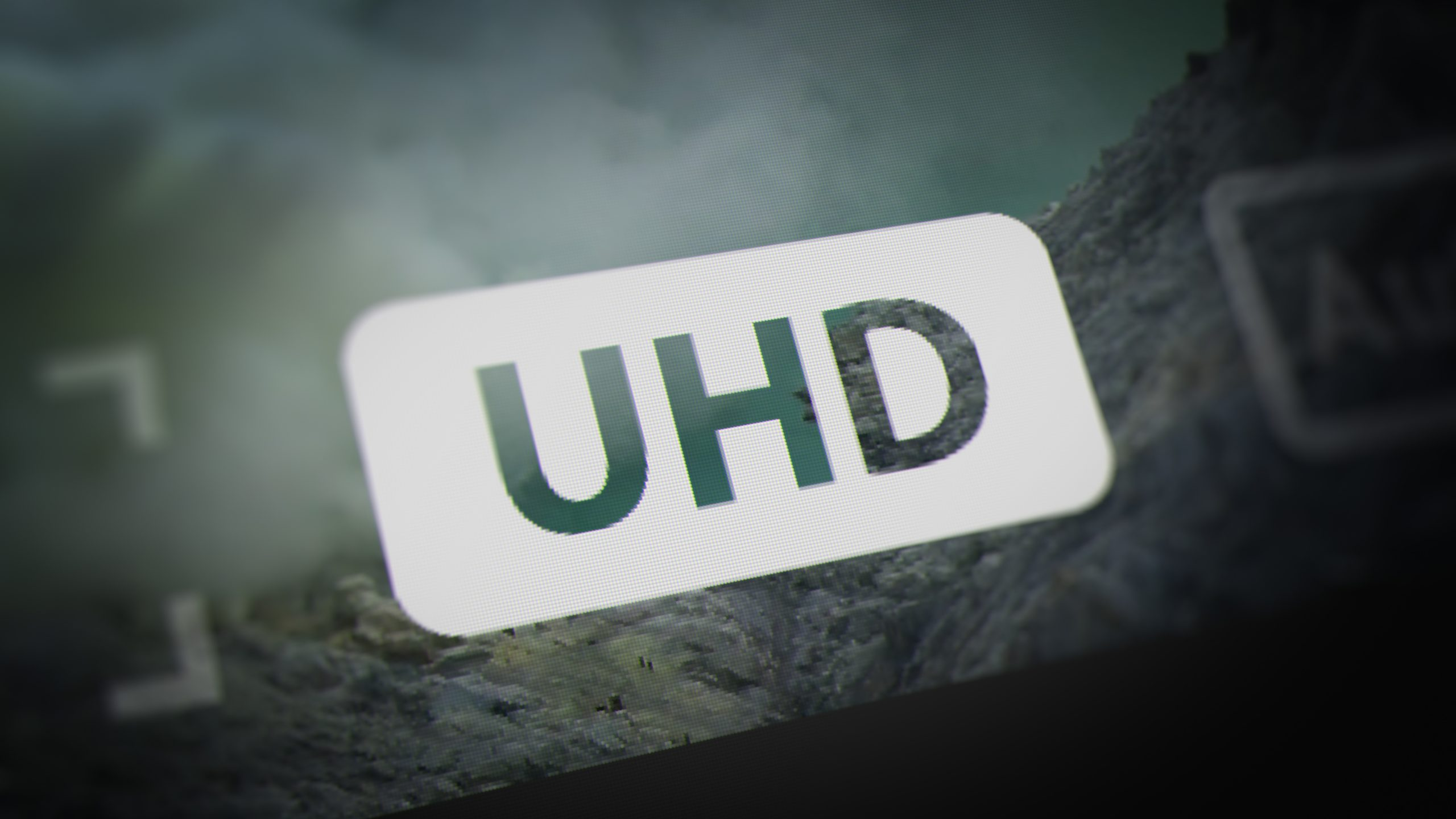 UHD (Ultra-high-definition) Label of Video Player Interface on Monitor Screen